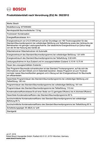 Wärmepumpentrockner Bosch WTW85460 - 5