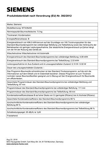 Kondenstrockner Siemens WT43N200 iQ300 - 3