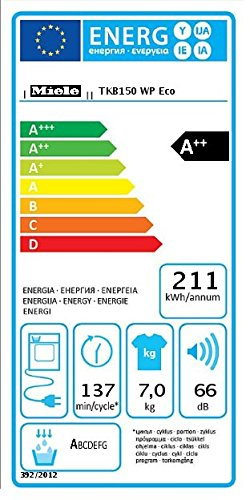 Miele TKB150WP D LW Eco Wärmepumpentrockner / A++ / 7 kg / Weiß / Punktgenaue Trocknung für alle Textilien -PerfectDry -