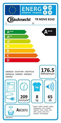 Bauknecht TR Move 81 A3 Wärmepumpentrockner / Energieklasse A+++ / 8 kg / Startzeitvorwahl / Weiß / Verbesserter Knitterschutz / Supersanft- Programm für sehr empfindliche Textilien / WoolPerfection -