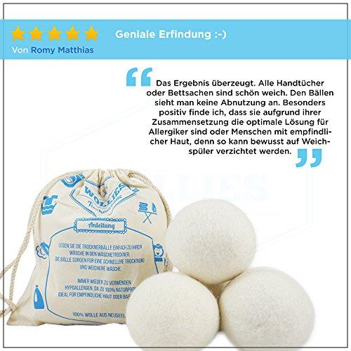 4 x Trocknerball - Bälle aus 100% Wolle zur Nutzung im Trockner, für schnelleres Trocknen und weichere Wäsche. Zeit und Kosten sparen durch Trocknerbälle für jede Wäsche, Decke, Kissen, Kopfkissen oder Daunen im Wäschetrockner. Trocknerkugeln für Wäschetrockner. -