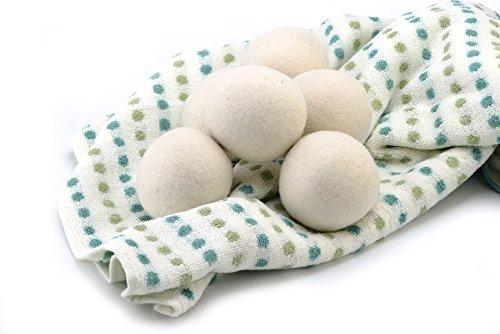 6 Bälle - 7cm Durchmesser, 100% Organic Neuseeland Wolle Trocknerbälle von RRR Natural Farm, Wiederverwendbar Natürliches Gewebe Weichmacher Gesundes Wäscheleben -