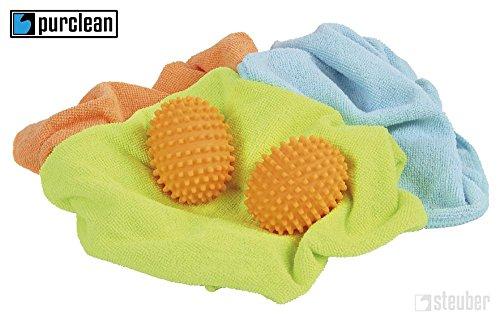 6 Stück (3x 2er Set) purclean Trocknerbälle, flauschige Wäsche und ökologisch Weichspüler sparen -