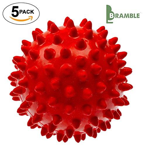 Bramble - 5 x Nicht schmelzende – wieder verwendbare Wäsche Trocknerbälle - Grün / Rot (Rot) -