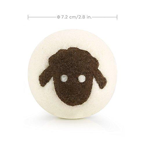 Ecooe 6 x Trocknerbälle aus 100% natürlicher Neuseelandwolle Bälle für Trockner Hypoallergene Natürliche Weichspüler -