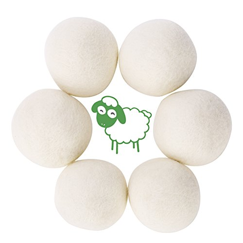 GHB 6 Stück Trocknerbälle aus 100% Schafwolle Trocknerkugeln für Wäschetrockner Wiederverwendbar natürlicher Weichspüler -