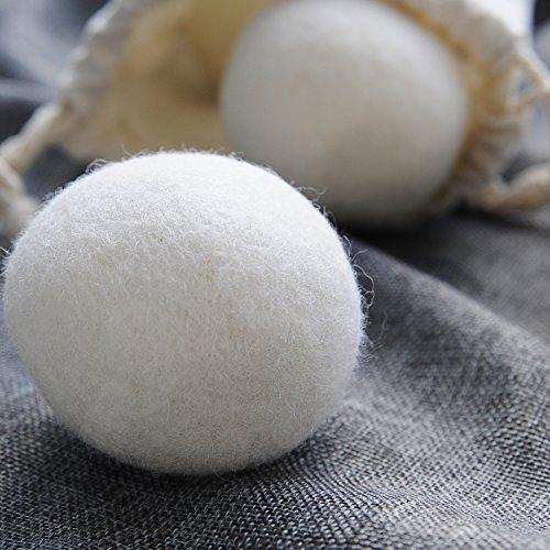 GWHOLE 6 x Trocknerbälle aus 100% neuseeländischer Schafwolle für Wäschetrockner, ohne Füllstoffe -