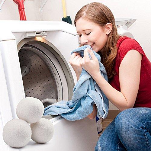 HENGSONG Trocknerbälle Trocknerkugeln aus Schafwolle für Wäschetrockner die umweltschonende Alternative zum chemischen Weichspüler (4 Stück) -