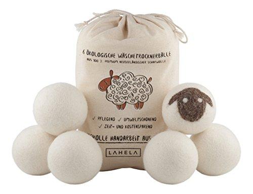 LAHELA Trocknerbälle 6er Pack - Ideal als natürliche Alternative für Weichspüler. Aus 100% neuseeländischer Premium-Schafwolle. Pflegend, umweltschonend, zeit- und kostensparend. Wäschetrockner Bälle Trocknerkugeln für Wäschetrockner. Handarbeit aus Nepal. -