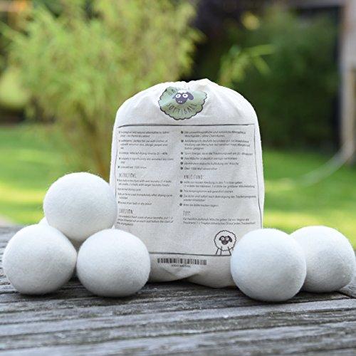 Original Softiball natürliche Trockner-Bälle (6er Pack) für Wäschetrockner - handgefertigt aus 100% Premium-Schafwolle - die umweltschonende Alternative zum chemischen Weichspüler - Trocknerkugeln -