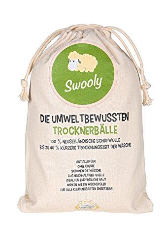 Premium 6er Pack Trockner-Bälle aus neuseeländischer Schafwolle - Hypoallergene Trockner-Kugeln als natürlicher Weichspüler -