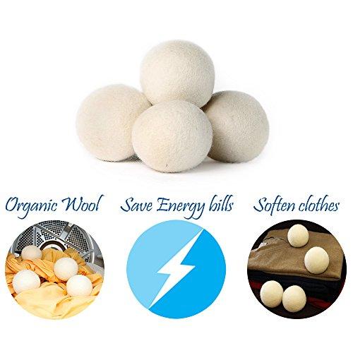 Premium Hypoallergen Wolle 100% Handgemachte Trocknerbälle - wiederverwendbare, statische Reduzierung und natürliche Weichspüler Bälle (4 Stück) -