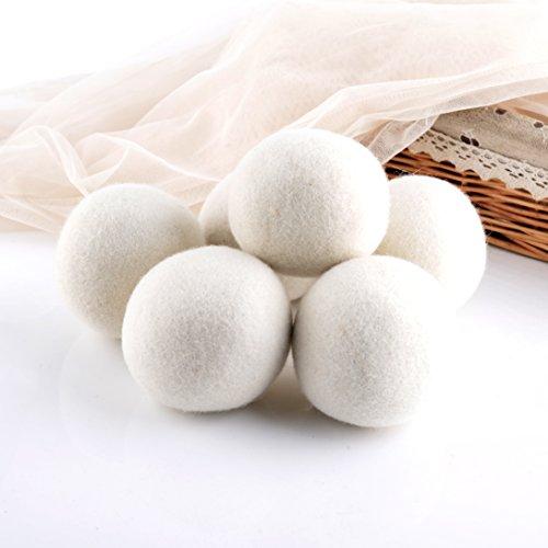 Premium wiederverwendbar natürlicher Weichspüler, Wolle Trocknerbälle Dryer Ball für Wäschetrockner 6er Pack weiß -