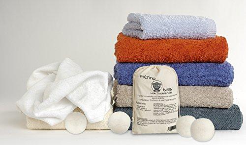 Trocknerbälle merino balls - 6 große Wollbälle aus reiner neuseeländischer Schafwolle für schnelle Trocknung und weiche Wäsche -