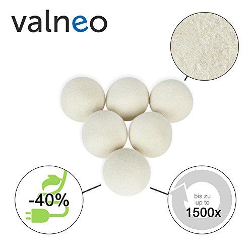VALNEO 6 Trockner-Bälle aus 100% natürlicher Schafswolle für den Wäschetrockner, schonend zur Wäsche, Strom- und Zeit-sparend |mit 2 Jahren Zufriedenheitsgarantie | Trocknerkugeln -