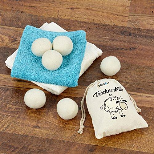VALNEO 6 Trockner-Bälle aus 100% natürlicher Schafswolle für den Wäschetrockner, schonend zur Wäsche, Strom- und Zeit-sparend  mit 2 Jahren Zufriedenheitsgarantie   Trocknerkugeln -